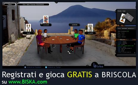 Registrati e gioca GRATIS a briscola online.