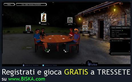 Registrati e gioca GRATIS a tressette online.